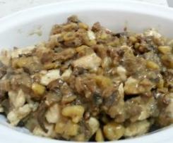 Tocchetti di pollo in crema di funghi e castagne