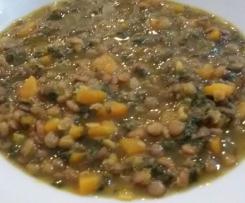 Lenticchie con spinaci e carote
