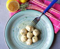 Polpettine semplici di tacchino  con salsa al vino bianco timo e buccia di limone sottovuoto