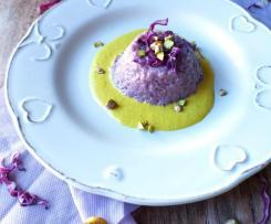 Piccoli timballi di riso con cavolo viola e salsa al pecorino e curcuma ( contest timballidi riso )