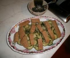 Lupino erborinato con zucchine