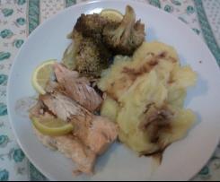 Salmone purè e broccoletti con aceto balsamico - contest secondi e contorni