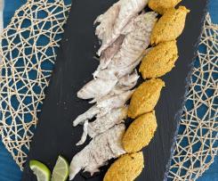 Orata sottovuoto con chennelle di carote e pistacchio