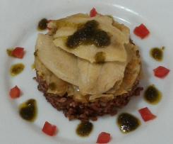 Filetti di Tilapia su riso rosso Ermes e cavolo cinese brasato