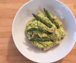 Quinoa con champignon e crema di asparagi e cannellini