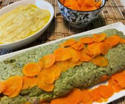 Polpettone di zucchine con crema di finocchi e carote sfogliate