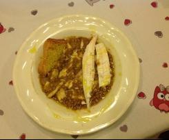 Crema di lenticchie con sogliole