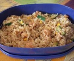 Riso thai con gamberi e zucchine