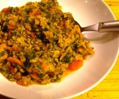 Spezzatino di soia con carote e spinaci