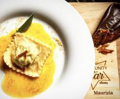 Ravioloni carciofi e bottarga /Contest a casa come al ristorante