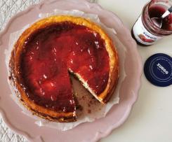 Cheesecake cotta Bimby con marmellata di lamponi