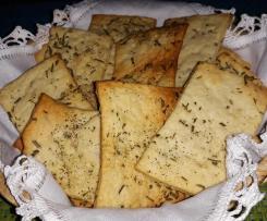 Crackers al rosmarino con pasta madre non rinfrescata