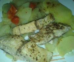 Ricciola e patate cotte al vapore