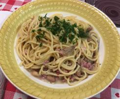 Spaghetti  risottati con salsiccia, funghi champignon e borlotti