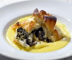 Fagottini di Pasta fillo ripieni di funghi, ricotta e biete con fonduta - CONTEST FUNGHI