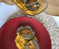Polpettone con purea e ripieno di carote