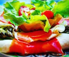 Crepes nuvola con Jamon Serrano, asparagi, salsa olandese e cestini di parmigiano-CONTEST TRICOLORE