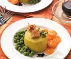 Sformatini di Parmigiano su letto di verdure stufate a vapore con aceto balsamico