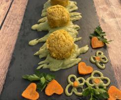 Tortini di carote a vapore su purea di sedano