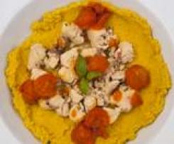 Crema di ceci con pesce spada marinato e pomodorini al basilico - della blogger Cinzia