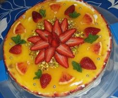 Cheesecake alle fragole e gelatina d'arancia