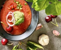 Gazpacho di ciliegie con sorbetto al basilico e limone -contest ciliegie