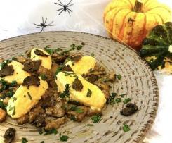 Gnudi di zucca con porcini e tartufo (Staffetta Halloween)
