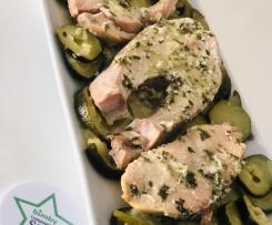Salmone al Varoma con contorno di zucchine