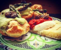 Bignole agli asparagi e capperi con mozzarella di bufala e crema di pomodoro con capperi croccanti-CONTEST TRICOLORE
