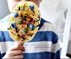 """Lecca lecca di cioccolato bianco decorate con ovetti di Pasqua """"Contest Ricette per bambini"""""""