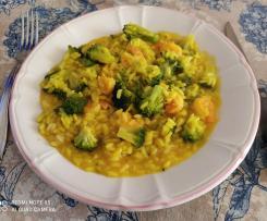 Risotto allo zafferano con broccoletti e mazzancolle