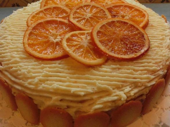 Torta della festa all 39 arancia pan di spagna crema e glassa un ricetta creata dall 39 utente - Glassa a specchio su pan di spagna ...