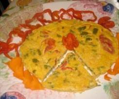 Tortilla de pimento del piquillo y bacalao (Frittata a vapore di peperoni  del piquillo e baccalà) Team Sciacca