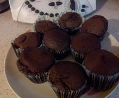 Muffins al cio-cacao con cuore di cioccolato bianco