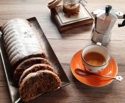 Plumcake con cioccolata fondente caffè e salsa al caramello