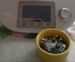 budino al cioccolato con cocco,mandorle e uvetta