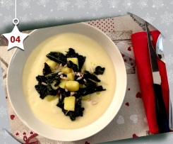 Patate alla curcuma e cavolo nero su crema di rapa - Natale