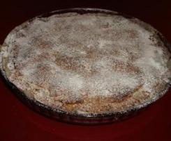 Crostata con farina di castagne, pere e cioccolato fuso
