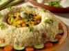 Corona di riso, capesante e verdure