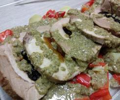 Arista ripiena di albicocche e prugne con salsa ai broccoletti