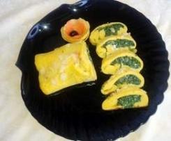 Omelette agli albumi farcita agli spinaci  x buffet