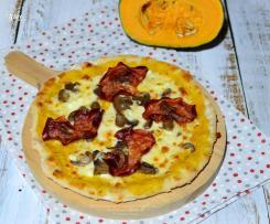 Pizza Bonci con crema di zucca, bresaola e funghi