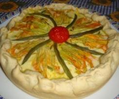 torta con fiori di zucca e fagiolini