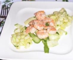 Code di gamberi in insalata