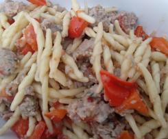 Trofie con salsiccia e peperoni