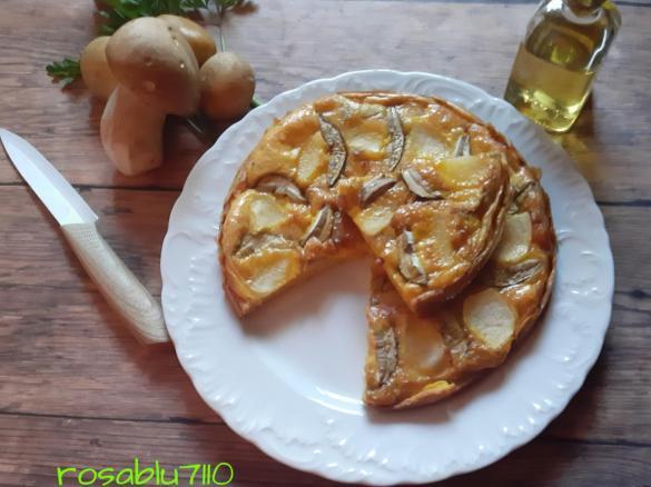 Frittata con porcini freschi pancetta e patata a modo mio