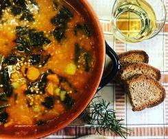 Zuppa di lenticchie,cavolo nero e grano saraceno