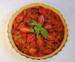 Crostata salata integrale all'olio evo e vino con pomodorini canditi
