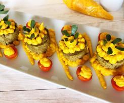 """Tortini di zucchine su mousse di carote """"Contest monoporzione Varoma"""""""
