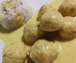 Polpettine di ricotta cotte a Varoma con salsa al curry e riso basmati